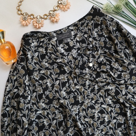 The Limited Tops - The Limited Floral Long Sleeve Blouse Black XL